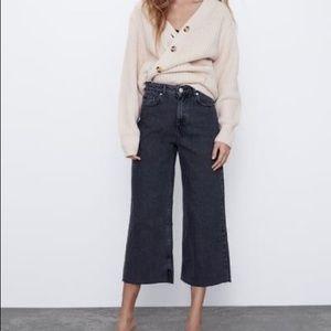 ZARA High Rise Frayed Waist Wide Leg Jeans Size 2